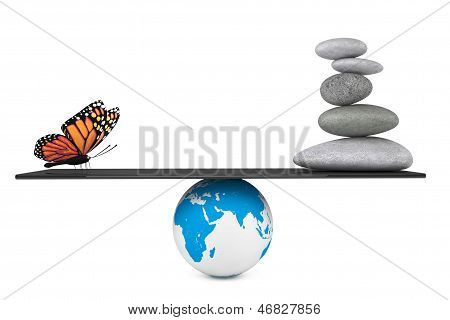 Stone Pile In A Zen Garden With Butterfly Balanced On A Earth Globe