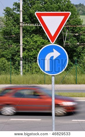 Moving Car And Traffic Signs