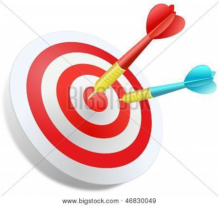 Two darts in the dartboard