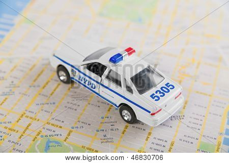 NYPD car and road map.
