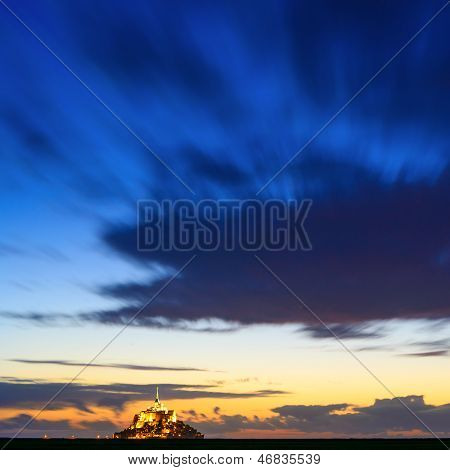 Mont Saint Michel Monastery And Bay Landmark Sunset Panorama. Normandy, France