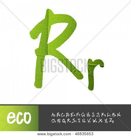 Letter R, Uppercase And Lowercase Variants. Green leaf textured alphabet, vector.