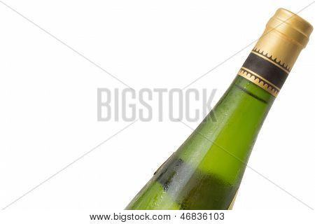 Condensation on white wine bottle