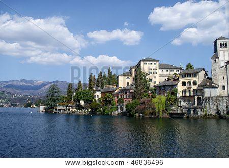 View Of San Giulio Island On Lake Orta In Italy