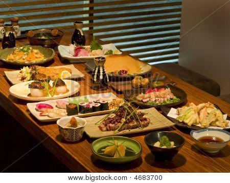 Beautiful Table Of Japanese Food