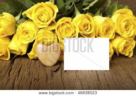 Grettings With A Bouquet Of Yellow Roses