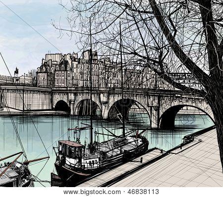 Ilustração em vetor de Paris - Ile de la Cite - Pont neuf (desenho de mão)