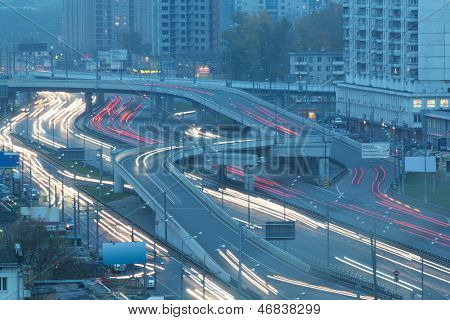MOSCOW - OCT 17: Traffic with motion cars on multilevel highway on Krasnopresnensky avenue on October 17, 2012 in Moscow, Russia.