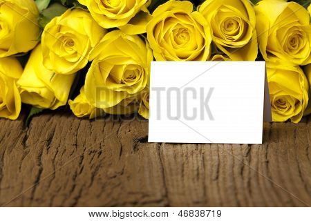 Yellow Roses With A Writable Card
