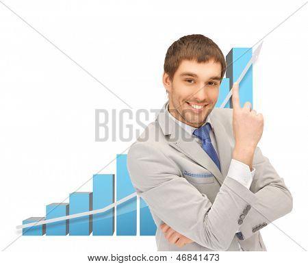 Bild von erfolgreicher Geschäftsmann mit großen 3D-Diagramm