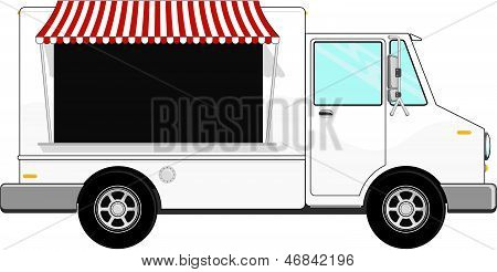 food bus with awning isolated