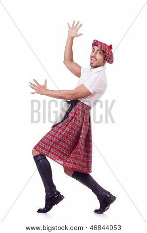 Scottish man dancing on white