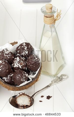 Coconut Milk Rice Truffles In A Coconut Shell