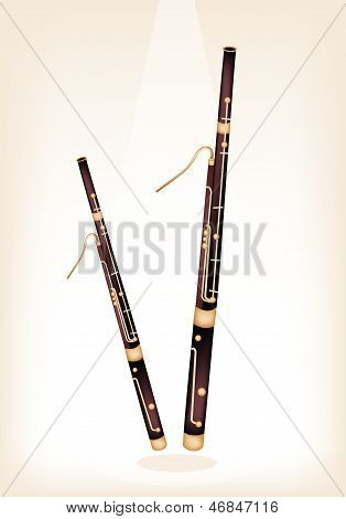 A Classical Bassoon On Brown Stage Background