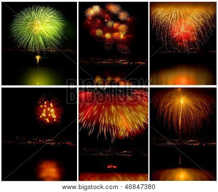 4 images of a Very Nice Fireworks Collage