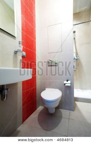 Bathroom With Mirror, Pan And Shower