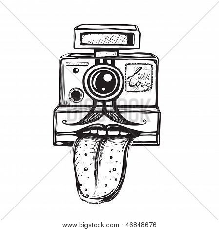 Camera and Photography Smiling Concept