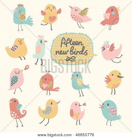 Cute birds in vector. Cartoon set, Fifteen funny birds in pastel colors