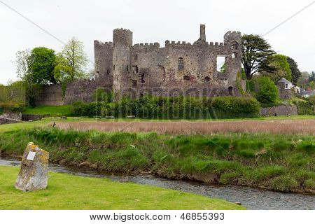 Welsh castle at Laugharne Carmarthenshire Wales on the River Taf
