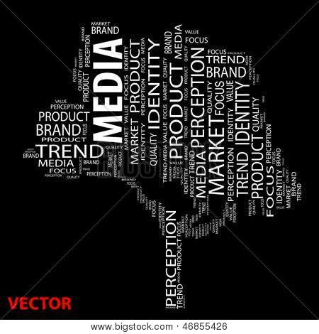 Vector eps concept or conceptual tree media word cloud on black background wordcloud