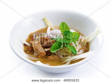 Assam or asam laksa  is a sour, fish-based soup. Delicious traditional Malay dish, malaysian food, Asian cuisine.