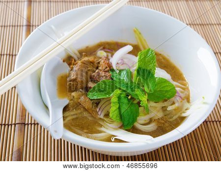 Assam or asam laksa.  Delicious traditional Malay dish, malaysian food, Asian cuisine.
