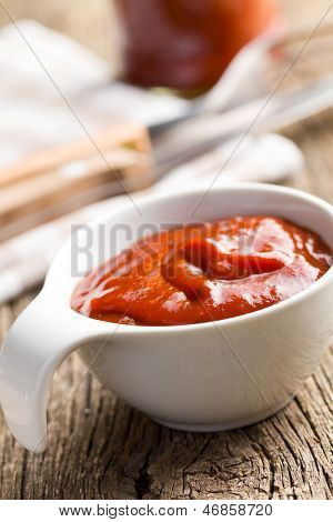 tomato barbecue sauce in ceramic bowl