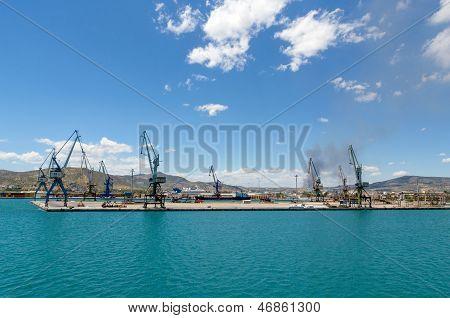 Harbor Cranes On Greek Dock
