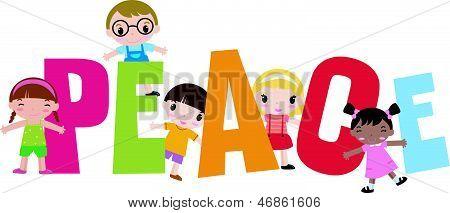 Cute kids and peace