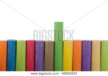 Colorful Row Of Chalk Sticks