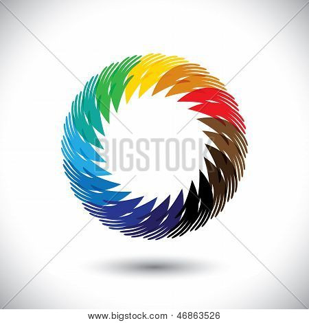 Concept Vector Graphic- Abstract Colorful People's Hand Symbols As Ring