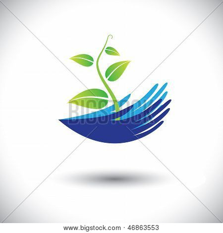 Concept Vector Graphic- Woman's Hands With Plant Or Seedling Icon(symbol)