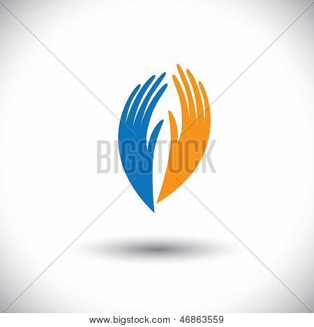 Concept Vector Graphic- Woman's Palm Symbols Representing Friendship