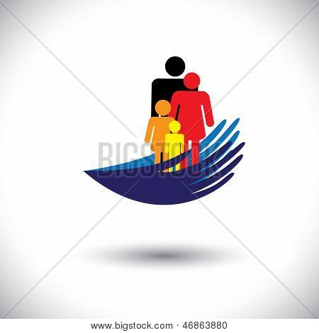 Concept Vector Graphic- Hands Protecting Family Of Parents & Children