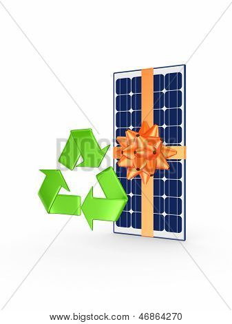 Solar battery and symbol of recycle.