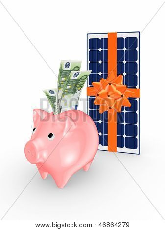 Solar battery and pink piggy bank.