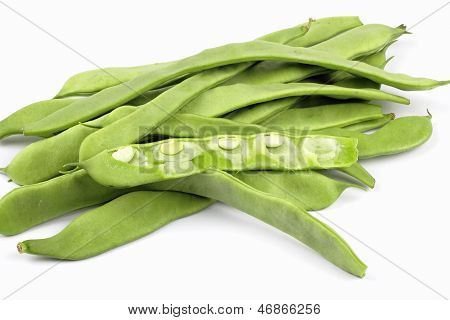 close up of common bean on the white background