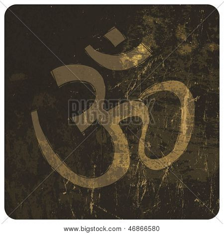 Om grunge symbol. Raster version, vector file available in portfolio.