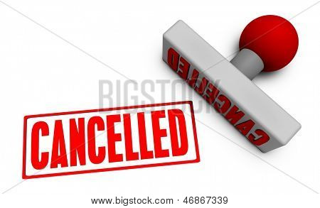 Cancelled Stamp or Chop on Paper Concept in 3d