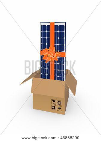 Solar battery in a carton box.