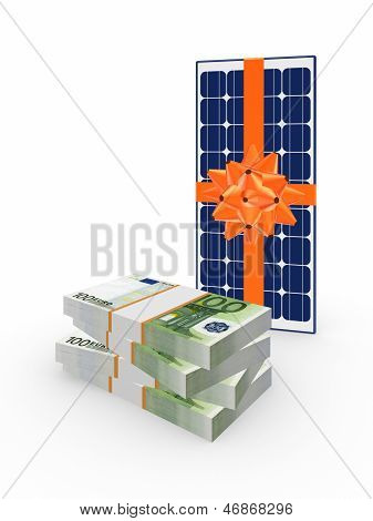 Stack of dollars and solar battery.