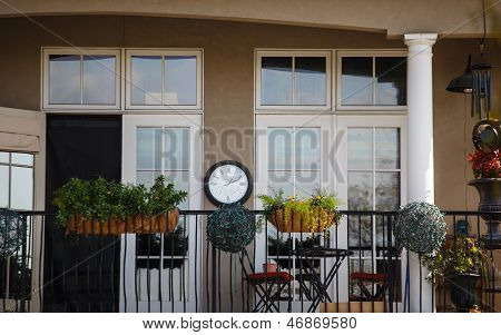Furnished Balcony With Clock