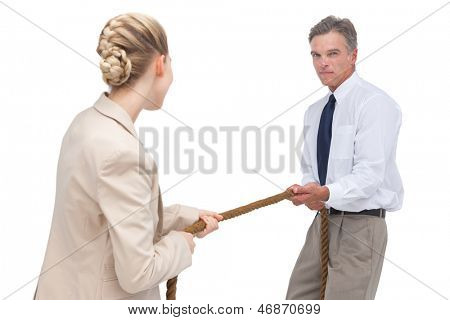 Business people compete a tug of war on white background