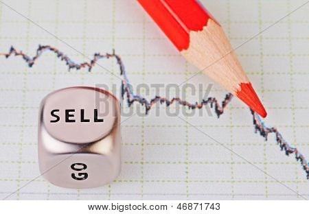 Downtrend Chart,red Pencil And Dice Cube With The Word Sell. Selective Focus