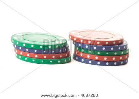 Two Stacks Of Poker Chips
