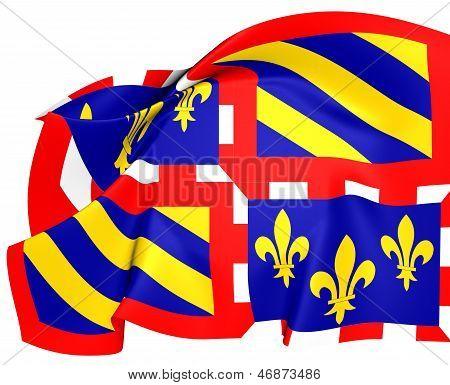 Flag Of Burgundy, France.