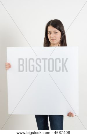 Brown Hair Girl With Whiteboard