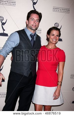LOS ANGELES - JUN 13:  Michael Muhney, Melissa Claire Egan arrives at the Daytime Emmy Nominees Reception presented by ATAS at the Montage Beverly Hills on June 13, 2013 in Beverly Hills, CA