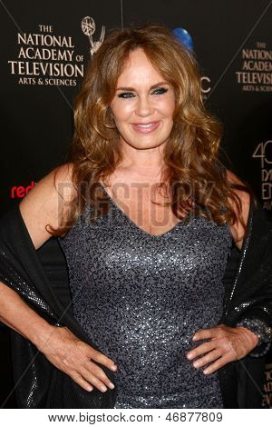 LOS ANGELES - JUN 16:  Catherine Bach arrives at the 40th Daytime Emmy Awards at the Skirball Cultural Center on June 16, 2013 in Los Angeles, CA