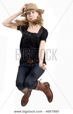 Blonde Jumping With Cap